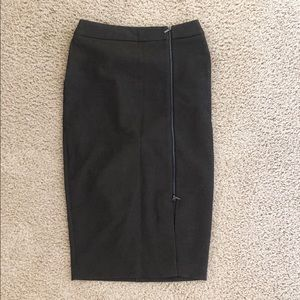 Ann Taylor Olive Green Zip Pencil Skirt